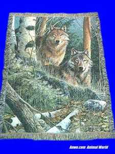 wolf blanket throw tapestry watchful eyes
