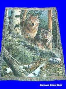 wolf blanket throw tapestry watchful eyes