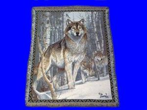 wolf blanket throw tapestry winter scene