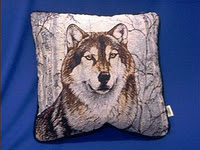 wolf pillow winter scene