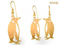 penguin earrings gold jewelry french curve