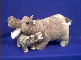 Hippo Plush Stuffed Animal Toy Mom and Baby