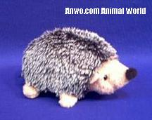 hedgehog plush stuffed animal grey laying