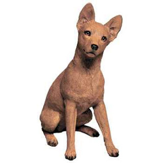 red miniature pinscher sandicast figurine statue