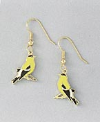 yellow goldfinch earrings french curve