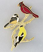 goldfinch jewelry pin with cardinal chickadee