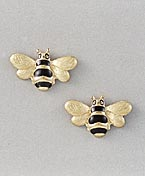 gold bee earrings post