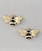 gold bee earrings post