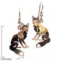 Fox Earrings French Curve Gold Jewelry