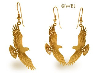 Red Tail Hawk Earrings Jewelry Gold