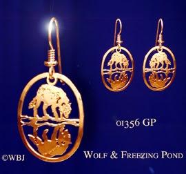 Wolf Earrings Jewelry Gold