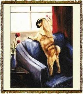 Pug Throw Blanket Tapestry Afghan