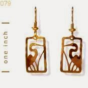 Blue Heron Egret Earrings Gold French Curve Jewelry