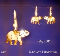 Gold Elephant Earrings Jewelry