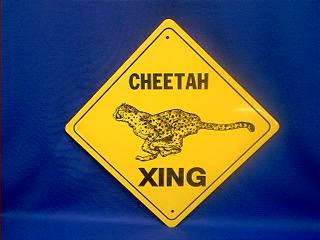 Cheetah Crossing Sign