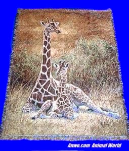 Giraffe Blanket Throw Tapestry Afghan